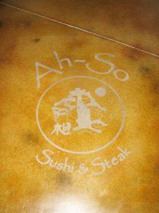 Acid Stain - Floor Decal at Ah-So Restaurant