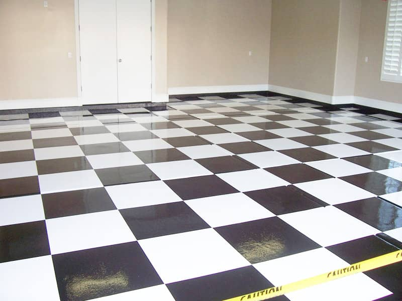 Specialty floors black white checkered garage sledge for Specialty flooring