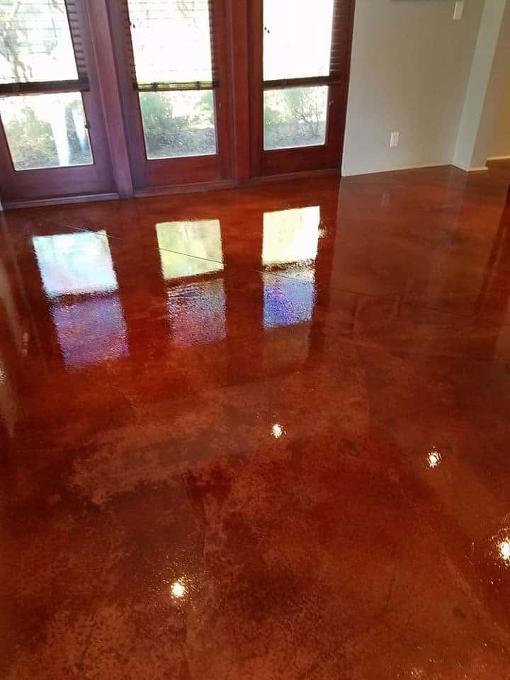 Acid Stain- Acetone Dye Concrete Floor