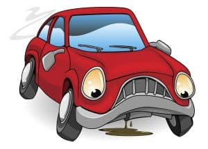 Cartoon Drawing of Red Car Leaking Fluid