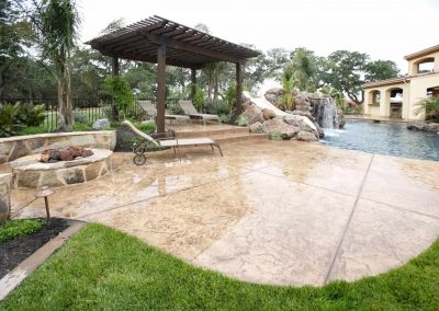 Stamped concrete patio brown stone with epoxy coating