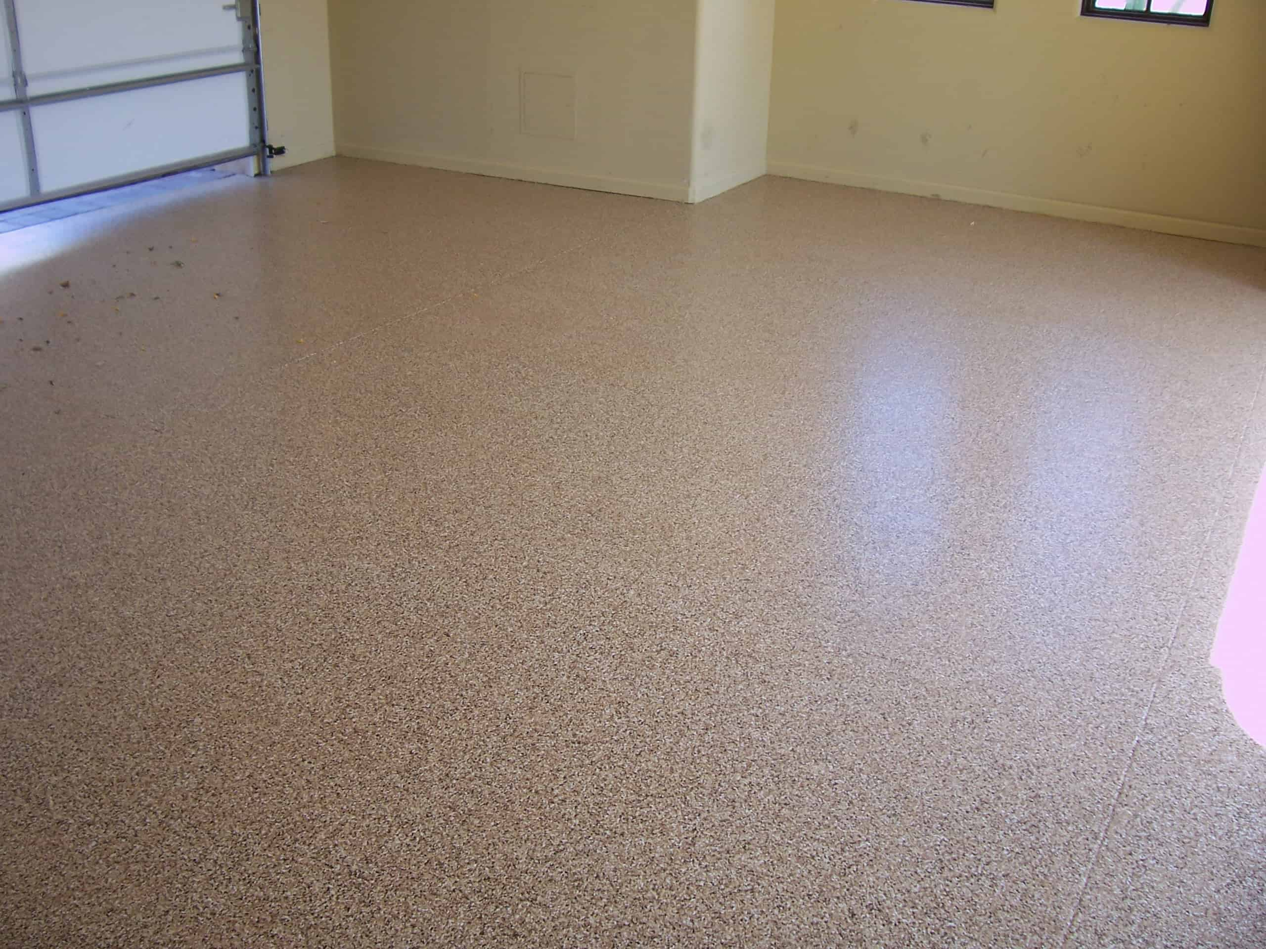 Epoxy finish light brown garage floor finish sledge for Floor finishes